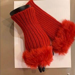 Women's Red Rib Knit Faux Trim Fingerless Gloves